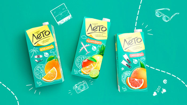 Обновление упаковки соков «Лето» «планы на Лето» компании «Лето трейд»